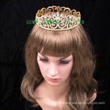 2016 New Design Crystal Tiara Gold Plated Rhinestone Crown
